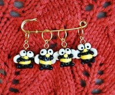Bumble Bee Knitting or Crochet Stitch Markers - Set of 4 - Polymer Clay