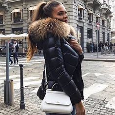 Superwarm black puffer jacket from WeLoveFurs. Puffer Jacket With Fur, Puffy Jacket, Winter Coats Women, Fashion Outfits, Womens Fashion, Autumn Winter Fashion, Winter Outfits, Jackets For Women, Glamour