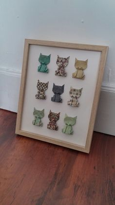 Chat Origami, Origami And Quilling, Origami Love, Paper Crafts Origami, Origami Wall Art, Shadow Box Art, Origami Animals, Idee Diy, Diy Frame
