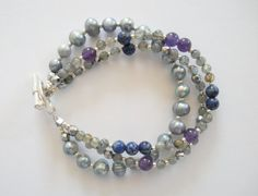 Amethyst Lapis Lazuli Labradorite and Freshwater Pearls  by LostElephantDesigns