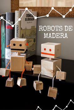Robots DIY de madera para niños ➜ manualidades originales para jugar en casa  #diy #juegos