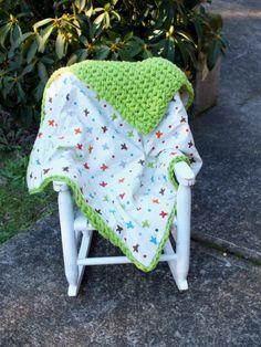 Baby boy plane  pilot crochet flannel blanket by 4my4creations