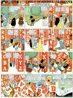 The Land of Wonderful Dreams comic strip featuring character Little Nemo (in quite a bit of plumage), as featured William Randolph Hearst's New York American, United States, 1912, by Winsor McCay.