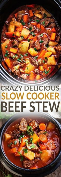 Slow Cooker Homemade Beef Stew makes the perfect comforting dish on a cold day. Best of all its easy to make and simmers in the crock-pot for the most delicious and tender meat with carrots potatoes sweet potatoes and celery. Super comforting for a co Best Crockpot Beef Stew, Homemade Beef Stew, Crock Pot Slow Cooker, Crock Pot Cooking, Slow Cooker Recipes, Cooking Recipes, Beef Stew Crock Pot, Slow Cooked Beef Stew, Cooking Steak