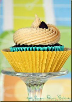 Chocolate Cupcake with Peanut Butter Icing   http://sugarbeanbakers.blogspot.com/