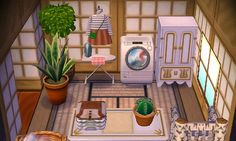 """fxwne: """"i was originally gonna do an art studio but changed my mind and did a . - fxwne: """"i was originally gonna do an art studio but changed my mind and did a laundry room instea - Animal Crossing 3ds, Animal Crossing Wild World, Animal Crossing Pocket Camp, Motif Acnl, Ac New Leaf, Happy Home Designer, City Folk, Animal Games, Best Candles"""