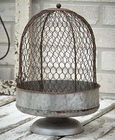 Add a farmhouse touch to any centerpiece or table decor with this Oversized Chicken Wire Cloche. It features a rustic chicken wire cover with a galvanized pedes Cloche Decor, Country Chicken, Wire Cover, Pedestal Stand, Kitchen Collection, Farmhouse Decor, Farmhouse Style, Farmhouse Garden, Rustic Cottage