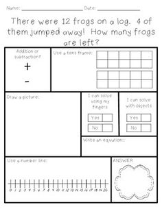 This packet includes 10 different word problems within 20.  There are 5 addition word problems and 5 subtraction word problems.Students must solve the problem using 6 different strategies (tens frame, draw a picture, fingers, objects, number line, and equation)Check out the EDITABLE templates for problems up to 10 & 20!Create Your Own - Word Problems up to 10Create Your Own - Word Problems up to 20No time to create word problems, no problem!