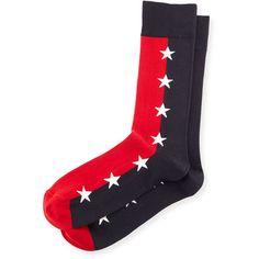 Jonathan Adler Star-Print Colorblock Socks ($32) ❤ liked on Polyvore featuring men's fashion, men's clothing, men's socks, mens blue socks and mens red socks