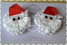 Items similar to Set of Two Santa Loopy Puffs Christmas Holiday Winter Bows OOAK on Etsy Ribbon Art, Ribbon Hair Bows, Diy Hair Bows, Diy Bow, Ribbon Crafts, Christmas Craft Fair, Christmas Hair Bows, Christmas Holiday, Christmas Clothes