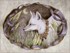 renard gris blanc nuit goupil roux animal dessin