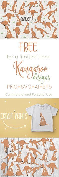 FREE Kangaroos includes 20 Kangaroo designs, perfect for prints, giftware and patterns! #ad #freebies #Kangaroo #photoshop #inkscape #coreldraw #adobeillustrator #graphicdesign #giftware
