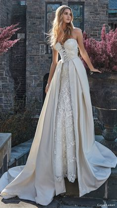 galia lahav bridal spring 2017 strapless sweetheart corset bodice aline wedding dress ( guerlain) mv overskirt