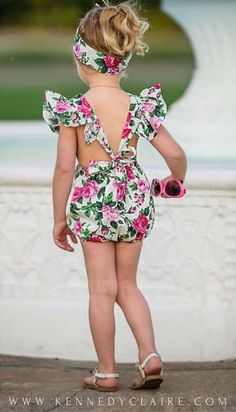 Your little one will be the center of attention in this sweet floral romper and head-wrap set. Gorgeous cross strap back makes this piece super b Baby Girl Dresses Fancy, Cute Baby Girl Outfits, Baby Girl Romper, Baby Dress, Kids Outfits, Girls Dresses, Little Girl Fashion, Kids Fashion, Girls Rompers