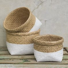 Set of Dipped White Baskets - Quince Living  - 1