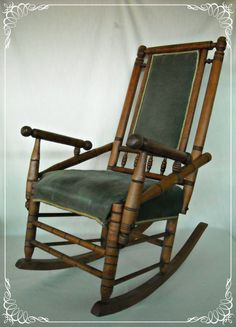 Furniture Antique Rocking Chair Victorian 1880s Turned Wood Faux Bamboo