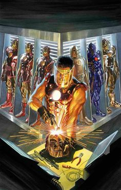 Iron Man: The Golden Avenger Alex Ross Marvel Comics Art, Marvel Vs, Marvel Heroes, Captain Marvel, Captain America, Iron Man Kunst, Iron Man Art, Alex Ross, Comic Books Art