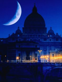 St. Peter's Basilica at Night, Vatican City