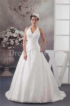 Elegant A-Line Halter Brush/ Sweep Train Wedding Dress