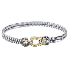 A rope design is is featured on this two-tone bangle from Divine Silver. This jewelry is crafted of two-tone sterling silver.