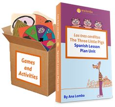 Getting Ready for Spanish Summer Camp? Introducing My new 3 Little Pigs Unit to Teach Young Children Spanish - This Spanish Lesson Plan Unit gives you everything you need to start teaching Spanish to children ages 3 to 7...so they learn fluency, not just flashcards! (To learn more about it, go to http://spanishlessonplansnow.com/)