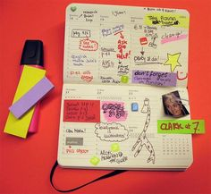 Moleskine planner / calendar / post-its / colorful / photos / notebook doodles