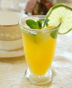 Mintade Punch orange juice, pineapple juice, lime juice lemon juice and fresh mint.