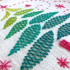 Hand embroidery, Christmas tree, embroidery stitch, diy gift, herringbone stitch
