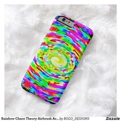 Rainbow Chaos Theory Airbrush Art Custom iPhone Barely There iPhone 6 Case by BOLO Designs.