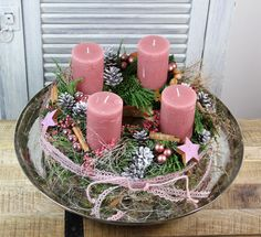 Advent Wreath - Advent Wreath - um produto exclusivo por unvergaenglich no DaWanda - Weihnachten ♡ Wohnklamotte - Arranjos Advent Wreath, Diy Wreath, Seasonal Decor, Fall Decor, Autumn Decorations, Christmas Decorations Sewing, Christmas Time, Christmas Crafts, Crown Crafts