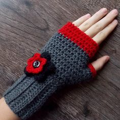 Crocheted Fingerless Gloves for Women