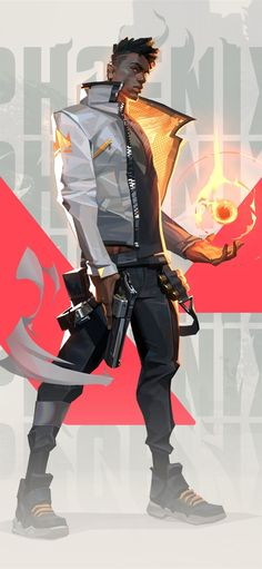 Riot Games presents VALORANT: a character-based tactical FPS where precise gunplay meets unique agent abilities. Learn about VALORANT and its stylish cast Game Wallpaper Iphone, Mobile Wallpaper, Phoenix Wallpaper, Skins Characters, Character Inspiration, Character Design, Point Hacks, Phoenix Art, Black Artwork