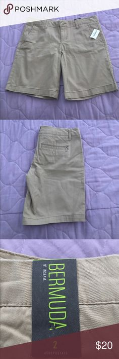 """Bermuda shorts New! Khaki 9"""" Inseam length 13"""" i am also listing 2 used one in very good condition same size  same color Aeropostale Shorts Bermudas"""