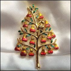 vintage christmas pins beatrix | sold cadoro christmas pin partridge pear tree brooch 1970s vintage ...