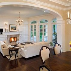 Dark floors, Light walls, white trim & french doors