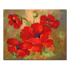 Red Poppies In Garden Floral Art Flowers Buds Oil On Canvas Art Painting Beach Canvas Art, Canvas Frame, Canvas Art Prints, Painting Prints, Canvas Wall Art, Wood Canvas, Floral Paintings, Canvas Size, Art Floral
