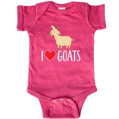 Goat Cute I Love Goats Farm Animal Infant Creeper Retro Heather Pink $20.99 www.homewiseshopperkids.com