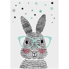 Dit konijn bestaat niet uit één, niet uit twee, maar uit honderdachtentwintig strepen. Geen schaapjes, maar streepjes tellen. Welterusten! Een unieke poster die voor een vrolijk impuls op de kinderkamer zorgt! De posters worden gedrukt met een kwalitatief hoogwaardige inkt op dik papier. Elke po
