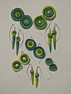 nested turquoise-yellow earrings by Laura Tabakman, via Flickr