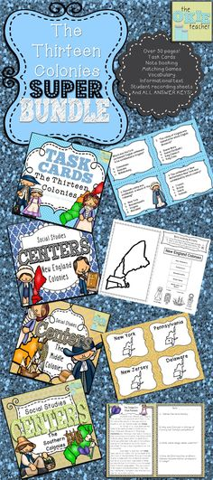 Over 50 pages of Thirteen Colony Activities! Task cards, matching games, informational text, and much more! New England, Middle and Southern Colonies.