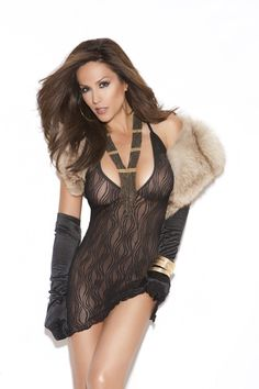 Swirl lace mini dress. Shown with black satin gloves