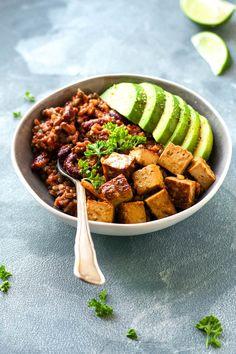 Vegan Enchilada Power Bowls with Spicy Tofu