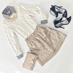 Cable knit sweater, Ferragamo miss vara, gingham shirt, J.Crew sequin bell skirt, navy bow heels