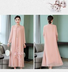 Embroidery cheongsam Chinese style dress for women Kurta Designs Women, Cheongsam, Chinese Style, Nice Dresses, Duster Coat, Fashion Dresses, Embroidery, Jackets, Wedding