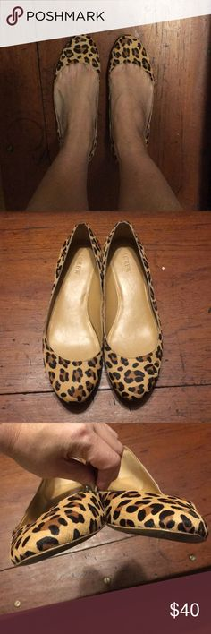 a3ef26a9314 J. Crew calf hair leopard covered heal flats sz 10 J.Crew Factory lily