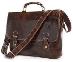 Vintage Handmade Antique Genuine Leather Briefcase Laptop Messenger Bag