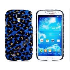 Carcasa divertida diseño leopardo Galaxy S4 en color azul