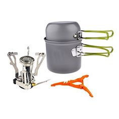 Peicees Outdoor Hiking Camping Stove Cookware Backpacking Picnic Cookware Cooking Tool Set Pot Pan  Piezo Ignition Canister Stove Propane Canister with Stand Tripod >>> Check out the image by visiting the link.