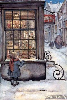 Anton Pieck (1895 - 1987, Dit jongetje vergaapt zich aan al dat moois,5december is Sinterklaas jarig en misschien krijgt hij wel iets van al dat moois lb xxx.