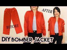 DIY Turn Old Pants Into Bomber Jacket   Satin Raglan Jacket   Clothes Transformation - YouTube